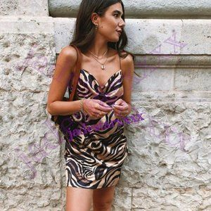 NWT Zara Tiger Animal Print Satin Slip Dress